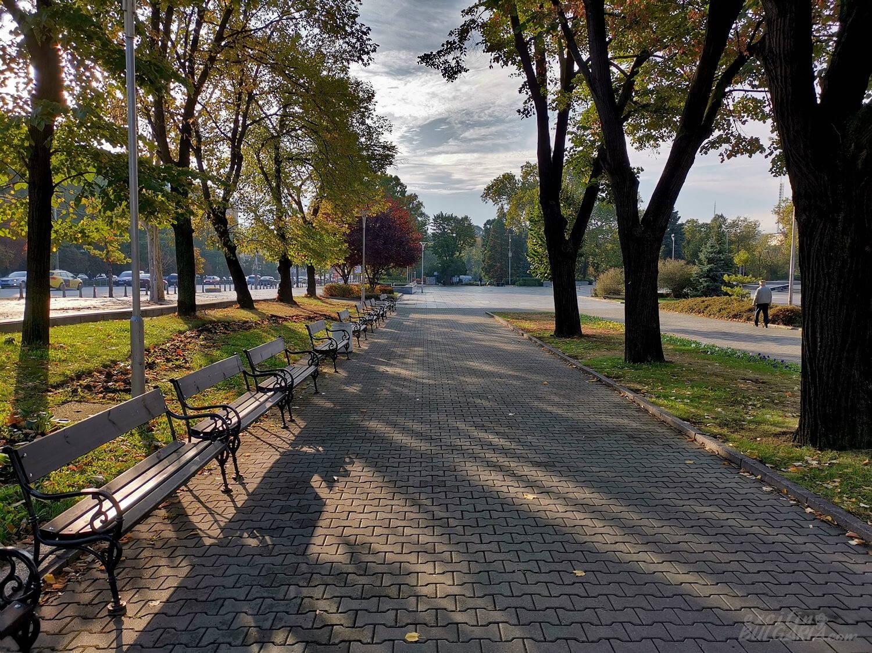 Őszi reggel egy szófiai parkban